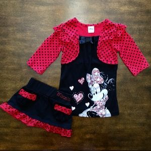 2pc DISNEY Minnie Mouse Top with Skort/Scooter!
